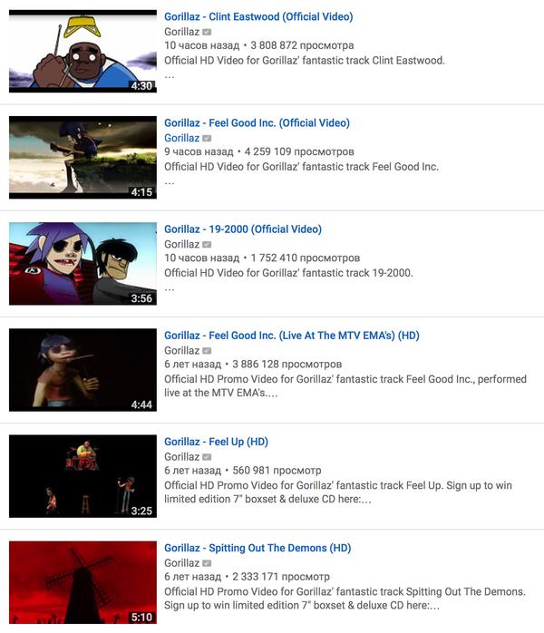 Gorillaz перезалили свои клипы в HD качестве Gorillaz, Hd, Youtube, Канал, Клип