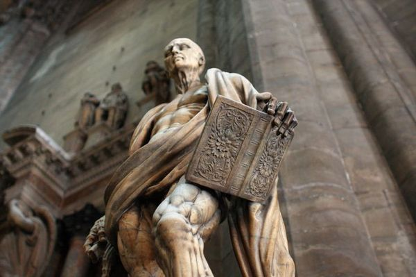 Statue of St. Bartholomew, Marco d'Agrate, Duomo Cathedral, Milan, Italy, 1562. мрамор, Academic Sculpture, длиннопост