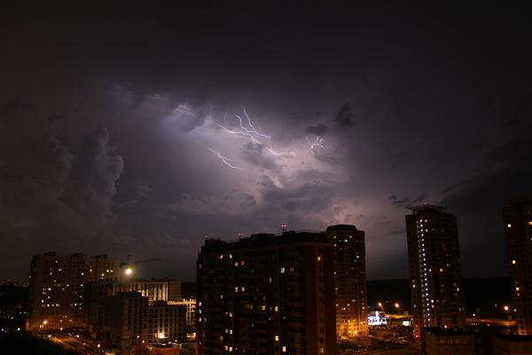 Буйство стихии Дождь, Гроза, Молния, Стихия, Ночь, Фото