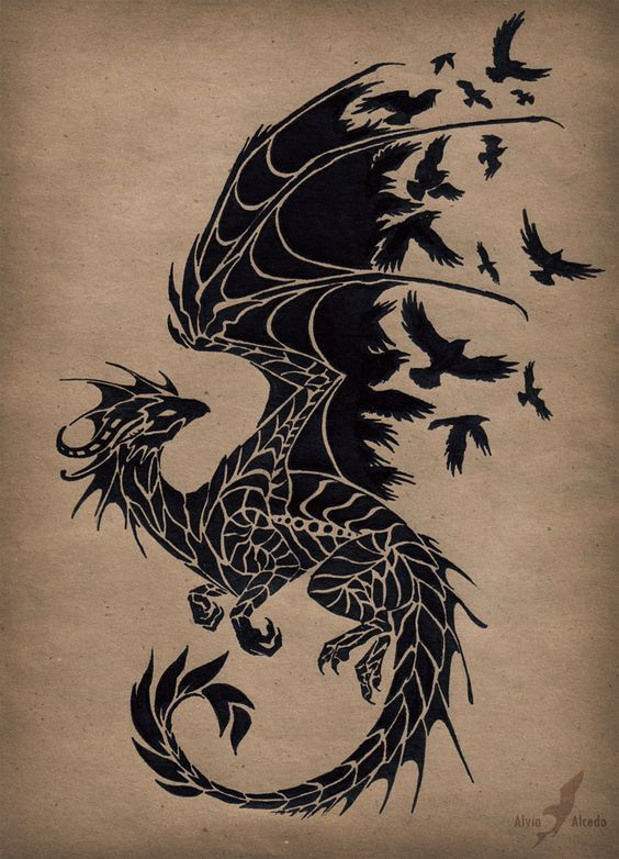 Татуировки драконов легкие картинки