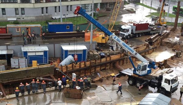 Последствия ливня на строительстве метро Метро, Строительство, Дождь, Падение, Минск, Беларусь, Видео, Длиннопост