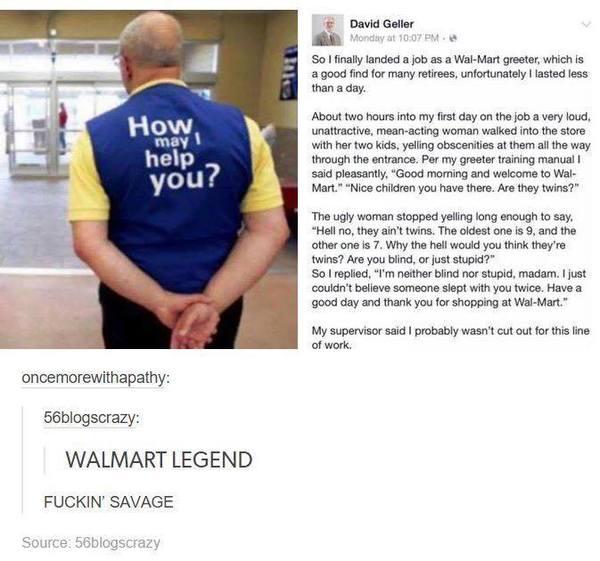 Оно того стоило Работа, Вежливость, Walmart, Пенсионеры