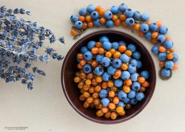 Облепихово-голубичное; ручная работа, ягода, голубика, черника, облепиха, ksssandorium, полимерная глина