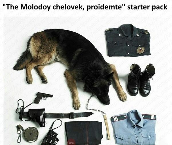 """""""The molodoy chelovek, proidemte"""" starter pack."""