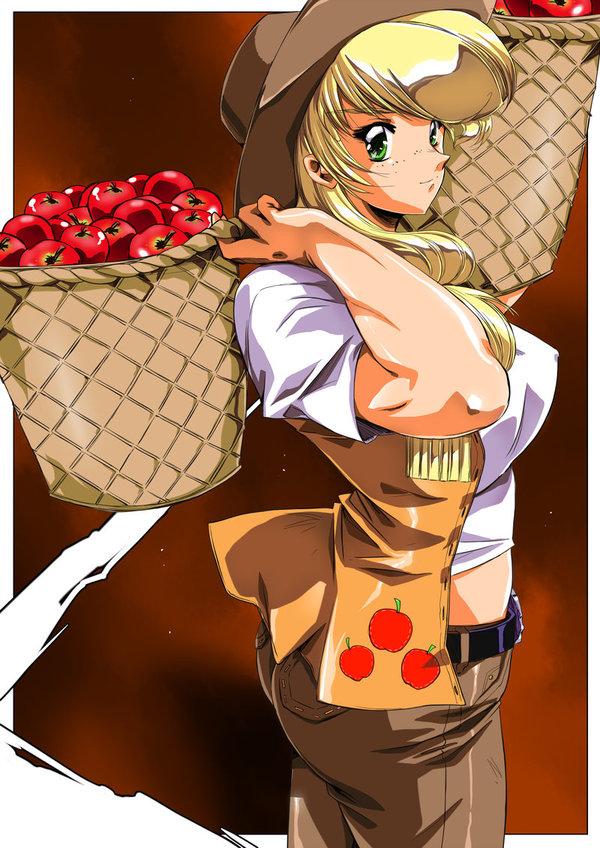 Время собирать яблоки Hinomars19, My little pony, Хуманизация, AppleJack, Крепкая девушка, Арт, Аниме, Сбор урожая