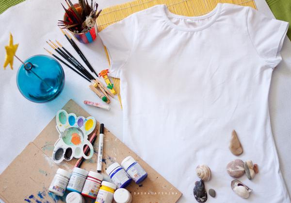 Море рядом! Простой способ обзавестись новой футболкой с росписью:) рукоделие, мастер-класс, роспись по ткани, длиннопост, своими руками, море, якорь