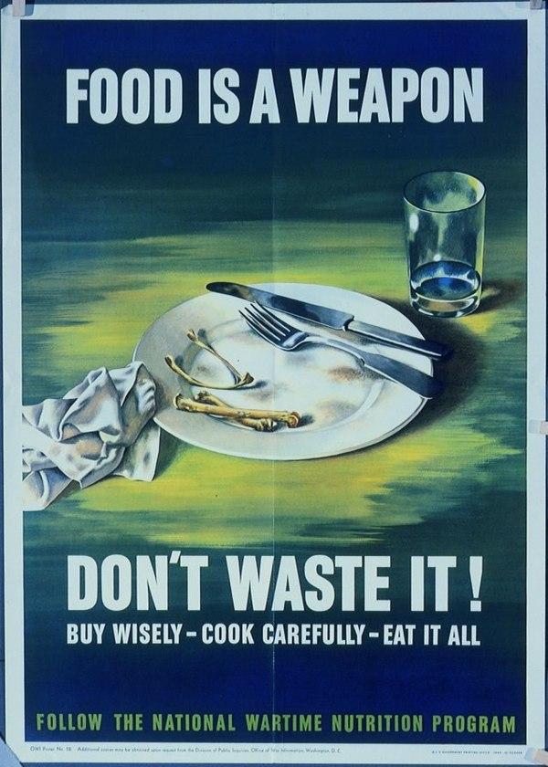Еда это оружие Плакат, Агитация, Вторая мировая война, ЭкоСфера, США