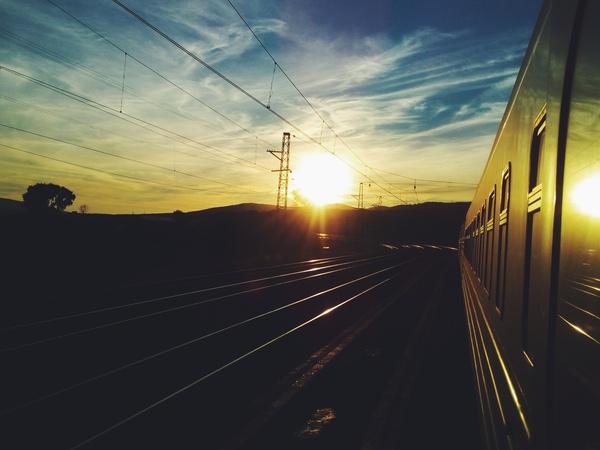 Рассвет на железной дороге РЖД, Рассвет, Поезд, Утро