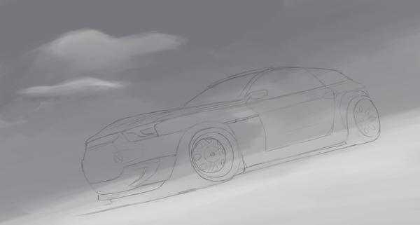 Очередной рисунок Ааавтомобиля. Рисунок, Photoshop, Я рисую как кретин, Авто, Зима, Россия, Калининград, Длиннопост