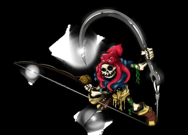Бессмертный рыбак Рисунок, Photoshop, Арт, Скелет