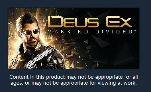 Заботливый стим Steam, Deus ex, Скриншот