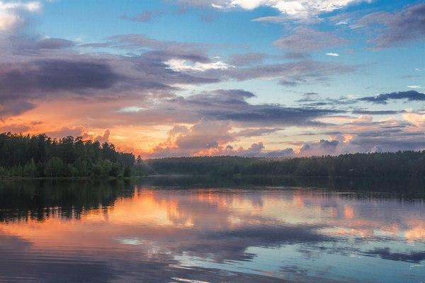 Акварельные зарисовки. закат, Ленинградская область, озеро Щучье, Фото, моей, длиннопост