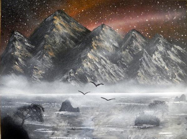 Spray art и снова горы Горы, Арт, Картина, Spray art, Ковер