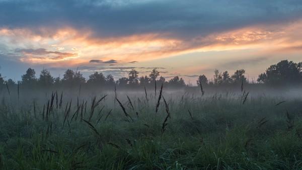 Закат у реки Закат, Туман, Фотография, Фото