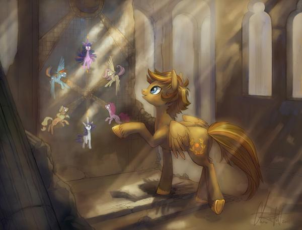 MLP art my little pony, Fluttershy, elements of harmony, rainbow dash, princess luna, длиннопост, mlp oc