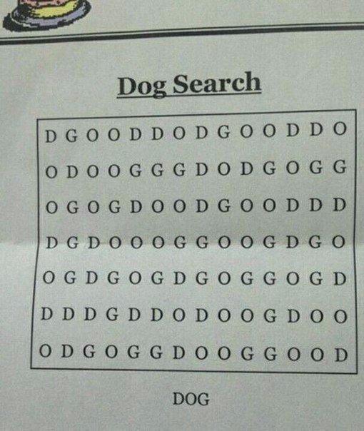 Найди собаку. (Слово DOG).