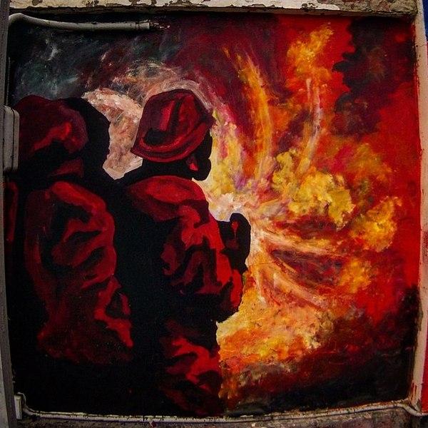 Одеваем стены в огонь и воду Рисунок, Роспись, Мчс, Художник, Кот, Длиннопост