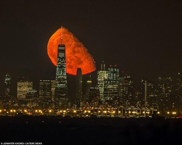 Кроваво-красная луна взошла над Манхэттеном Луна, Красный, Фотография