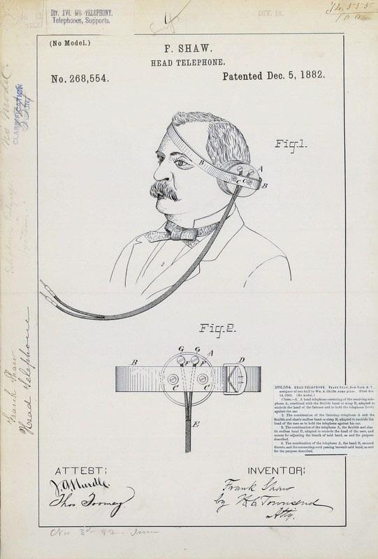 Патент на первые в мире головные телефоны, 1882 год.