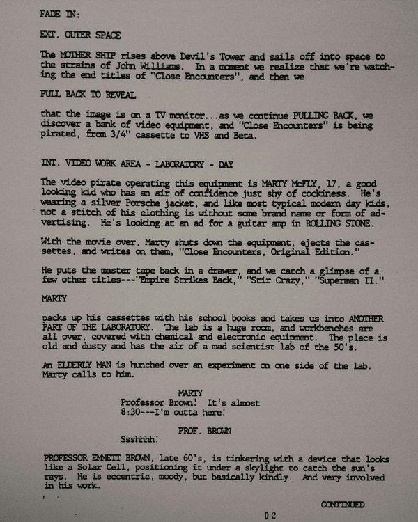 Первая страница первой версии сценария «Назад в будущее», 24 февраля 1981 года