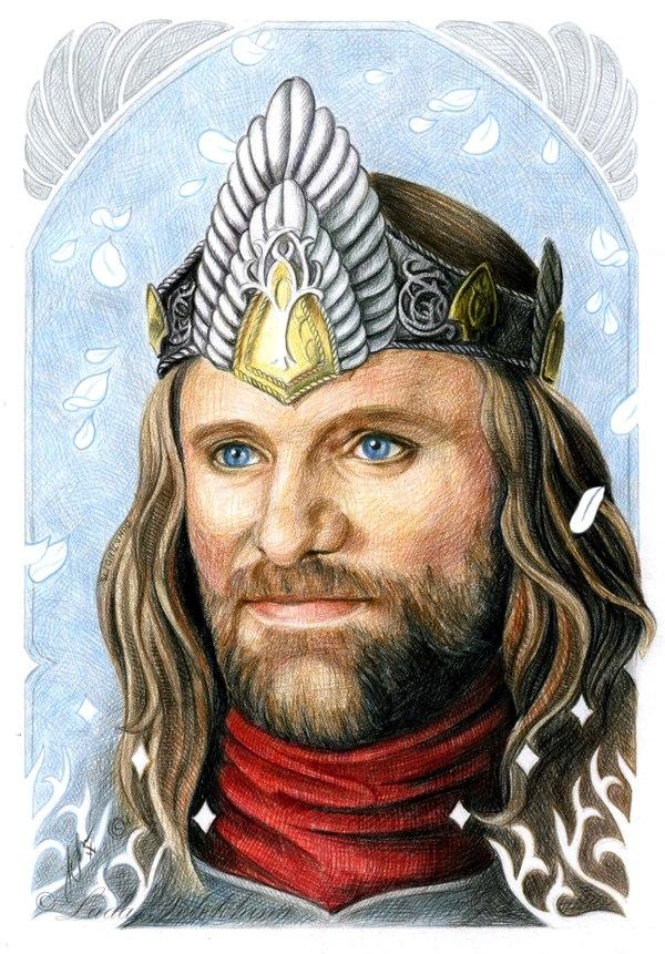 """Портрет цветными карандашами. """"Король"""" Моё, Рисунок, Портрет, Король, Арагорн, Энвиньятар, Элессар, Властелин колец"""