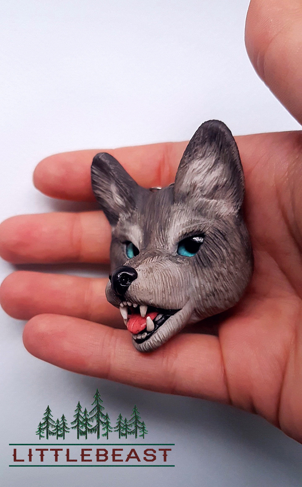 Волк из полимерной глины полимерная глина, пластика, Своими руками, зверьё, Животные, Волк, длиннопост