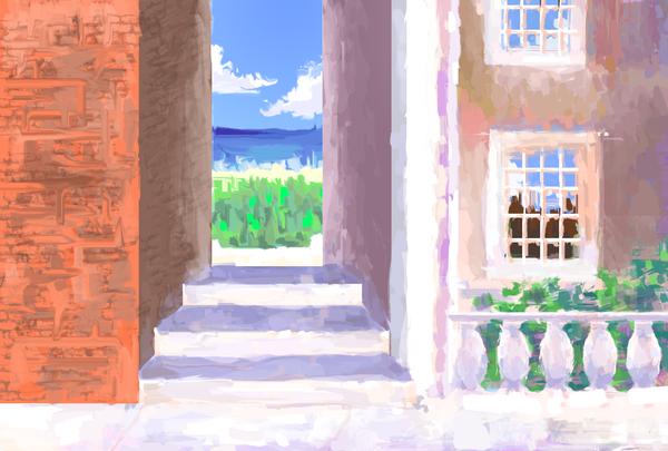 Лето. XtDr, рисунок, лето, море, город, здание, дом, лес