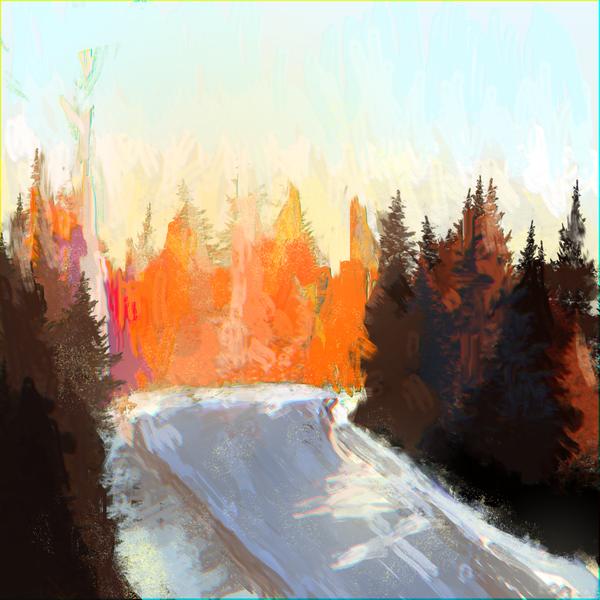 Зимняя дорога XtDr, рисунок, мазня, набросок, лес, дорога, снег, рассвет