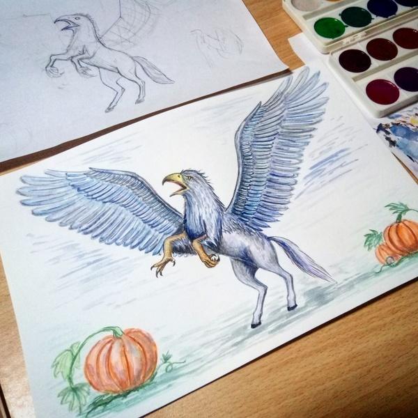 Захотелось нарисовать гиппогрифа после  прочтения Гарри Поттер и узник Азкабана)) книги классные!