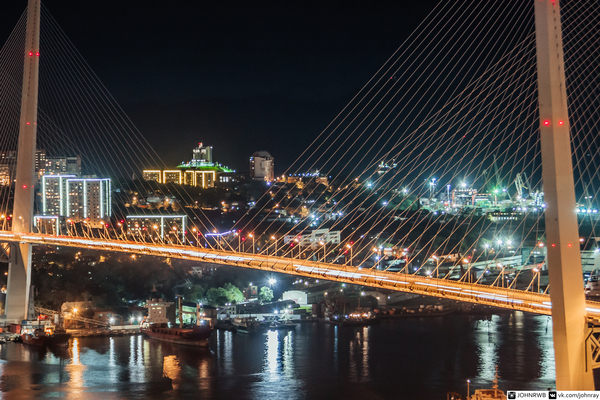 Ночной Владивосток Мост Русский, Золотой рог, Владивосток, Руферы, Длиннопост