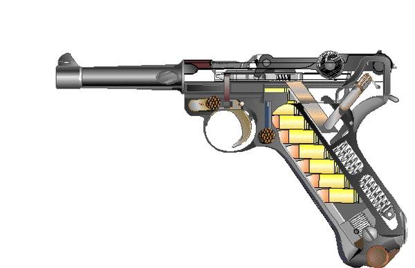 Luger P-08 в разрезе