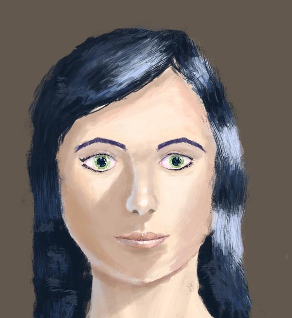 Девушка с зелеными глазами. XtDr, рисунок, мазня, девушки, анатомия, лицо, прогресс, Младшая Академия Художников