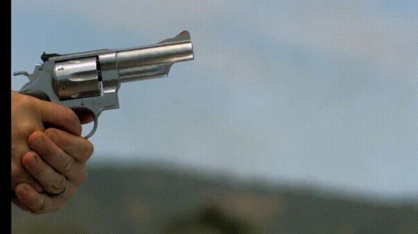 44 Magnum vs Блок геля Гифка, Выстрел, Пышь пышь ололо, Оружие, Магнум 44