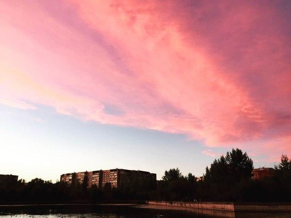 Розовое небо.
