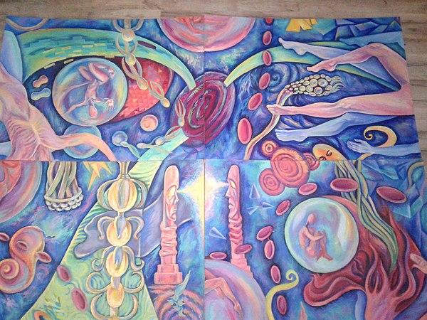 Модульная картина из 4 частей, несколько вариантов сборки. Не фильтрованный поток сознания Картина, живопись, сюрреализм, психодел, Марго Резник, поток сознания, психоделика, psy, длиннопост