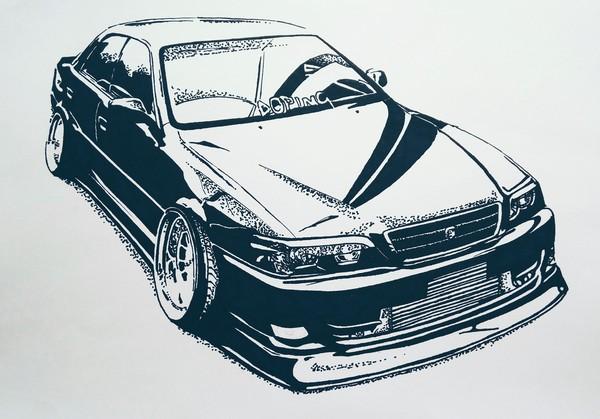 Toyota Chaser JZX100, черный маркер, линер, А4.