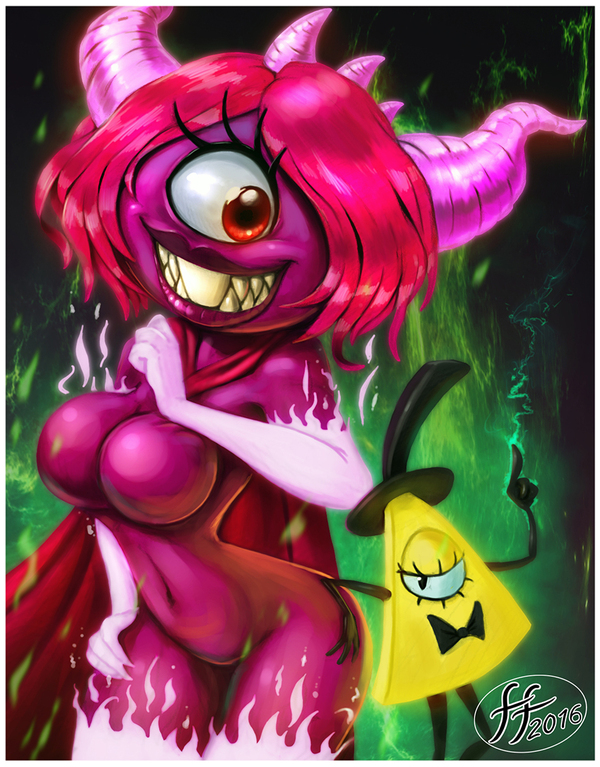 Пироника и Билл 14-Bis, Арт, Gravity Falls, Bill Cipher, Pyronica, Длиннопост, Monster girl