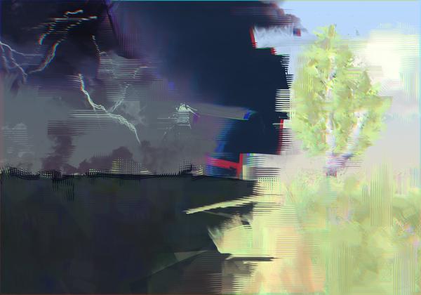 Искажение реальности. glitch art, glitch, рисунок, торнадо, реальность, поле, берёза, Шторм