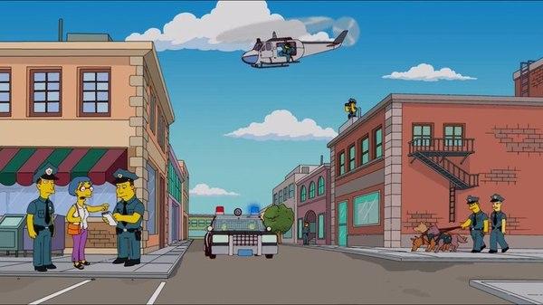 Симпсоны и повозка с пончиками. Симпсоны, Пончики, Полиция, Юмор