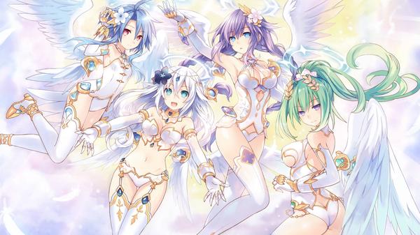 Four Goddesses Online: Cyber Dimension Neptune Hyperdimension neptunia, Tsunako, Anime Art, Аниме, Purple heart, Black heart, White heart, Green heart
