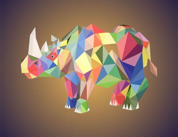 Носорог. носорог, рисунок, Corel Draw, low poly