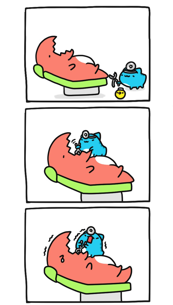 Зуб болит! Bugcat-Capoo, Бракованный кот, Кот, Комиксы, Стоматолог, Зубы, Зубная боль, Длиннопост