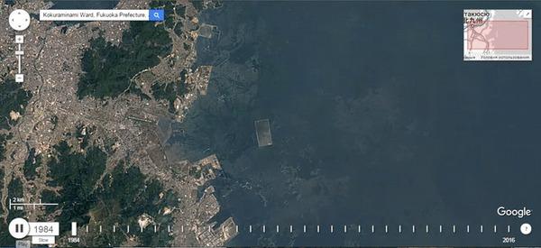 Как создавался аэропорт Китакюсю Google Earth, Аэропорт, Япония, Гифка
