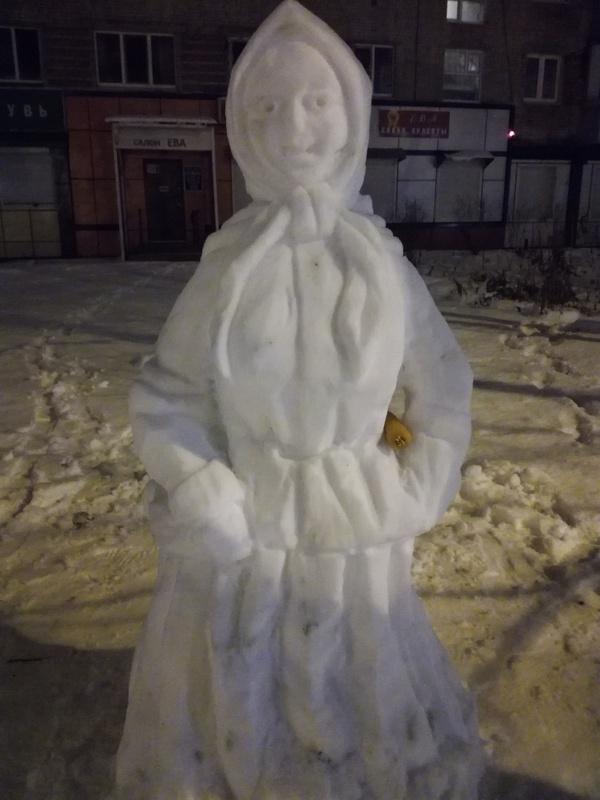 Снежная баба Снежная баба, Зима, Скульптура, Крипота