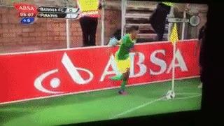 """Вот такие вратари играют в ЮАР — забивают, да еще """"ножницами"""" Футбол, Гол, Удар ножницами, Вратарь, Гифка"""