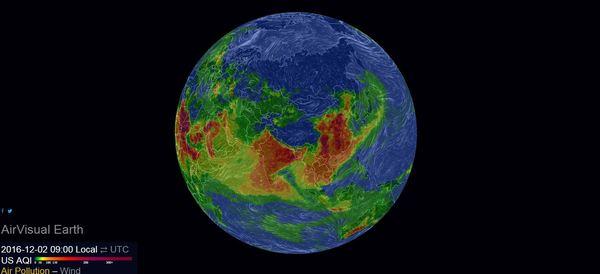 Сайт AirVisual создал онлайн-карту загрязнения воздуха на нашей планете. Загрязнение, Загрязнение окружающей среды, Планета Земля