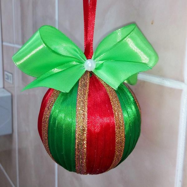 Елочный шарик Своими руками, Моя первая работа, Лента, Новый Год, Авторская игрушка