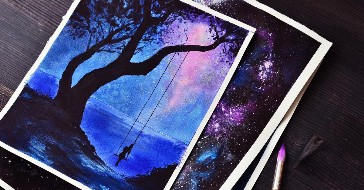 Крутые легкие рисунки красками, водопадов картинки