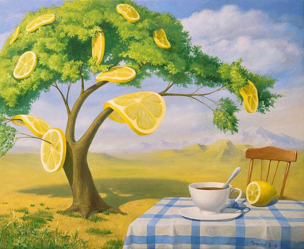 Лимонное дерево, переделка моей, арт, Живопись, сюрреализм, лимон, Фантазия, Искусство, картина