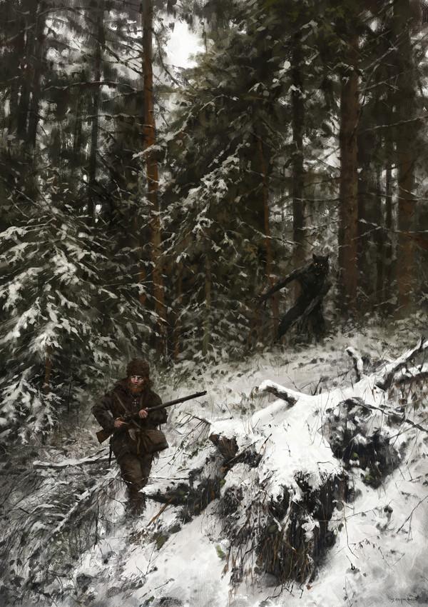 Охота на охотника. Якуб Розальски, охотник, лес, оборотни, Digital, Fantasy, арт
